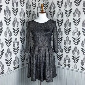 One clothing pleated metallic dress